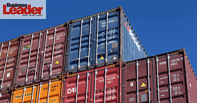 shipping containers in a freeport