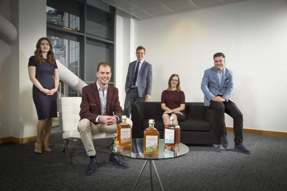 NOVELTEA co-founder Vincent Efferoth seated front, with back left to right, Thea Tebble of Mercia, Oliver Rickett of Womble Bond Dickinson LLP, Stephanie Brown of Muckle LLP and Ian Wilson of Mercia.