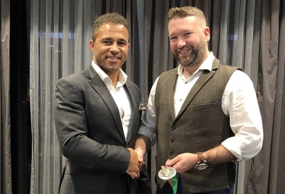 Rob Vivian (right) with England rugby star Jason Robinson.