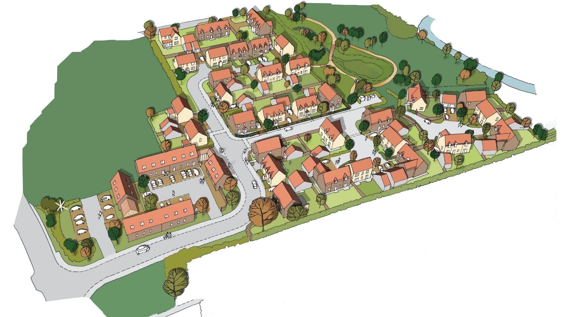 3D view of the zero carbon housing development plan in Tickenham