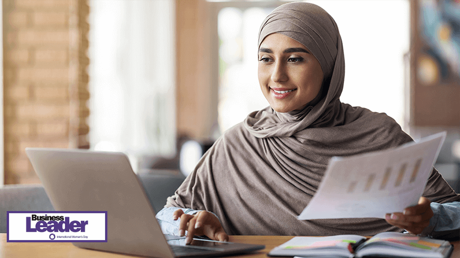 Woman business analyst working laptop